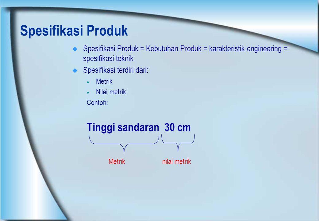 Spesifikasi Produk  Spesifikasi Produk = Kebutuhan Produk = karakteristik engineering = spesifikasi teknik  Spesifikasi terdiri dari:  Metrik  Nil
