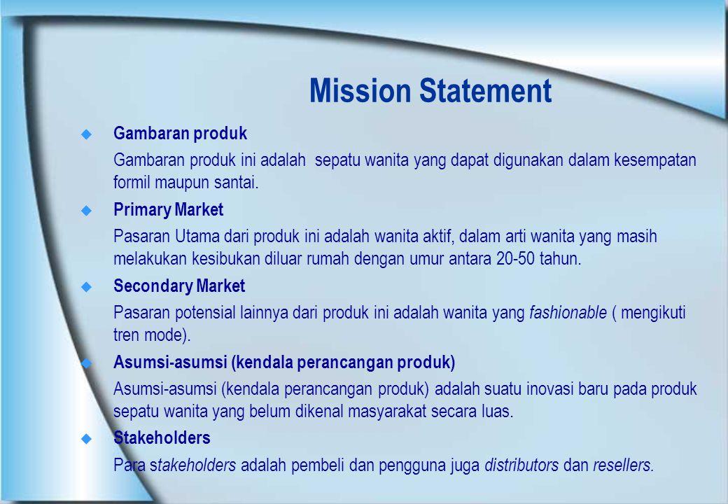 Mission Statement  Gambaran produk Gambaran produk ini adalah sepatu wanita yang dapat digunakan dalam kesempatan formil maupun santai.  Primary Mar