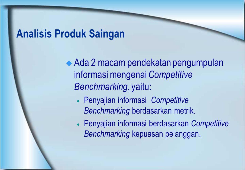 Analisis Produk Saingan  Ada 2 macam pendekatan pengumpulan informasi mengenai Competitive Benchmarking, yaitu:  Penyajian informasi Competitive Ben