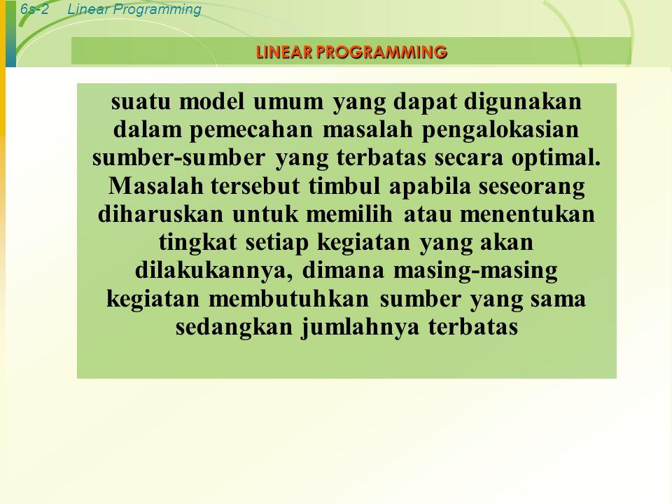 6s-2Linear Programming LINEAR PROGRAMMING suatu model umum yang dapat digunakan dalam pemecahan masalah pengalokasian sumber-sumber yang terbatas seca