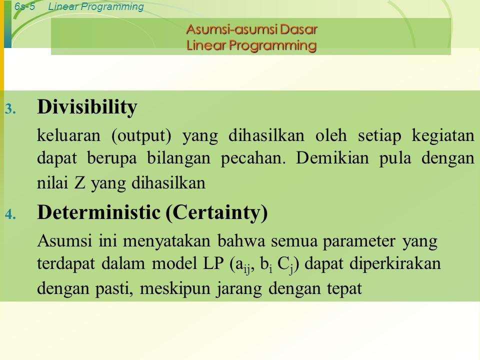 6s-5Linear Programming Asumsi-asumsi Dasar Linear Programming 3. Divisibility keluaran (output) yang dihasilkan oleh setiap kegiatan dapat berupa bila
