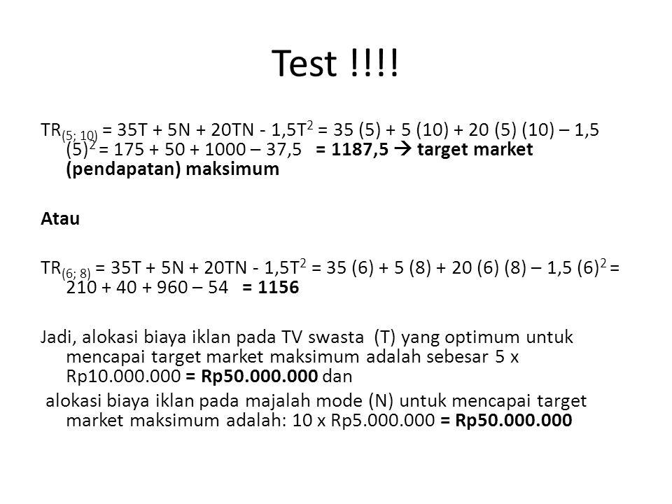 Test !!!! TR (5; 10) = 35T + 5N + 20TN - 1,5T 2 = 35 (5) + 5 (10) + 20 (5) (10) – 1,5 (5) 2 = 175 + 50 + 1000 – 37,5 = 1187,5  target market (pendapa