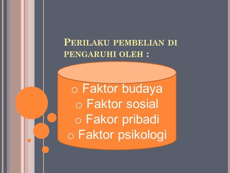 P ERILAKU PEMBELIAN DI PENGARUHI OLEH : o Faktor budaya o Faktor sosial o Fakor pribadi o Faktor psikologi