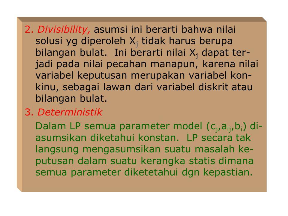 LP juga mensyaratkan bahwa jumlah variabel kriteria dan jumlah penggunaan sumberdaya harus bersifat additif. Contoh: Keuntungan total Z yg merupakan v
