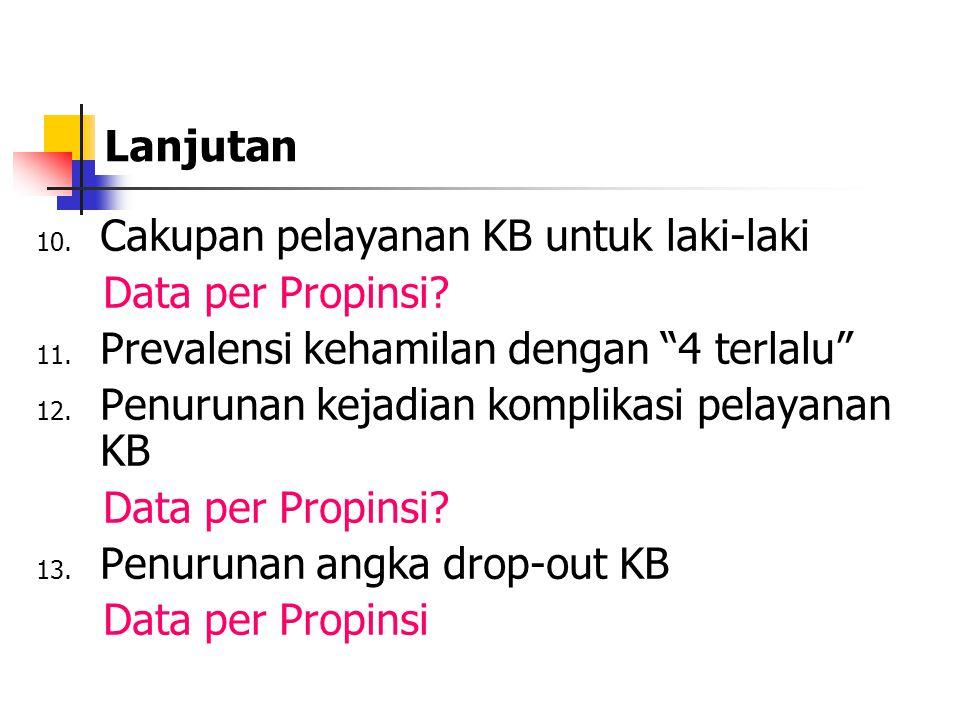 """Lanjutan 10. Cakupan pelayanan KB untuk laki-laki Data per Propinsi? 11. Prevalensi kehamilan dengan """"4 terlalu"""" 12. Penurunan kejadian komplikasi pel"""