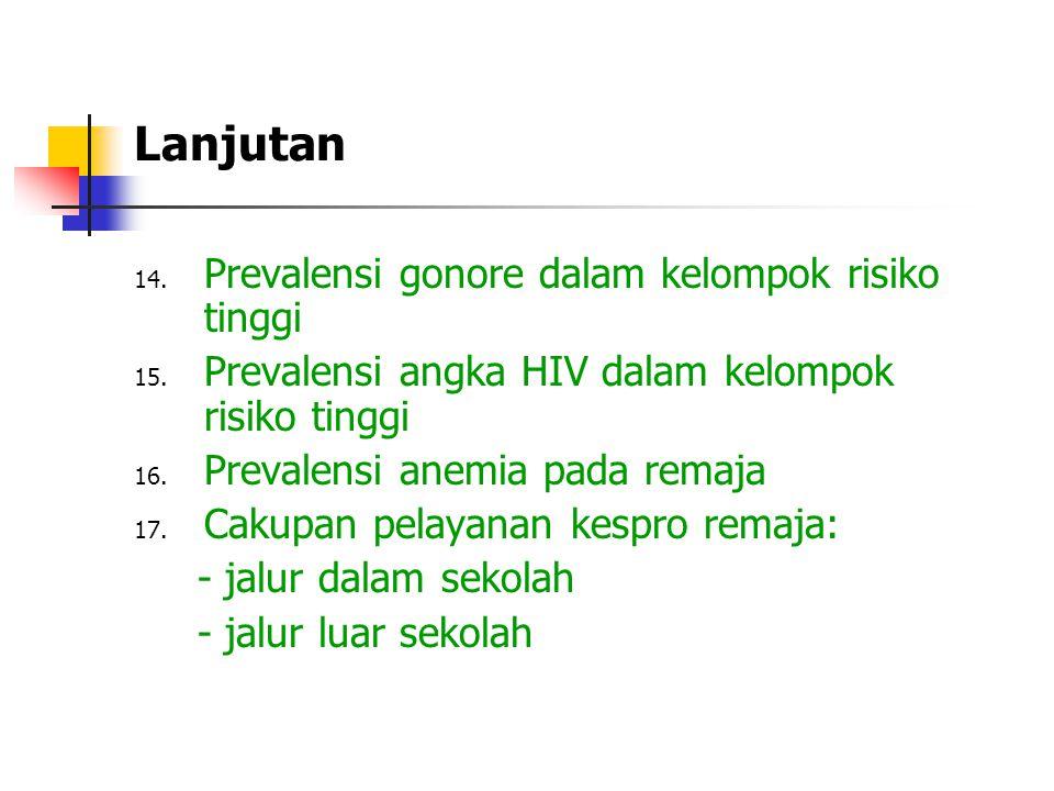 Lanjutan 14. Prevalensi gonore dalam kelompok risiko tinggi 15. Prevalensi angka HIV dalam kelompok risiko tinggi 16. Prevalensi anemia pada remaja 17