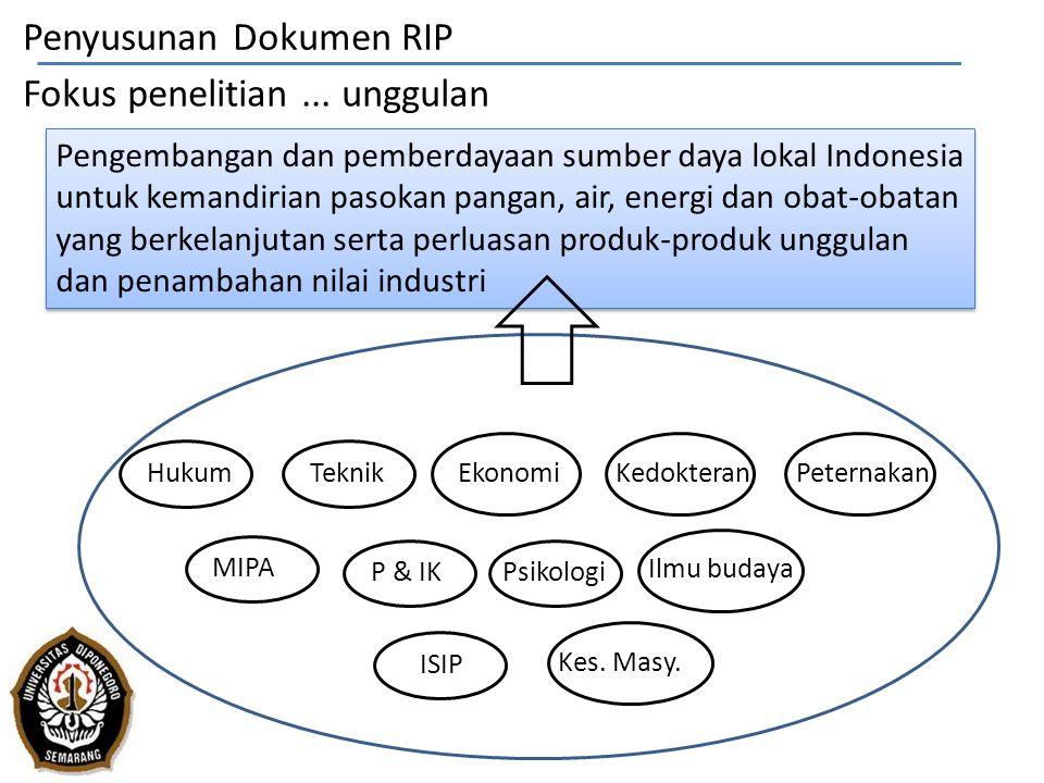 Fokus penelitian... unggulan Pengembangan dan pemberdayaan sumber daya lokal Indonesia untuk kemandirian pasokan pangan, air, energi dan obat-obatan y