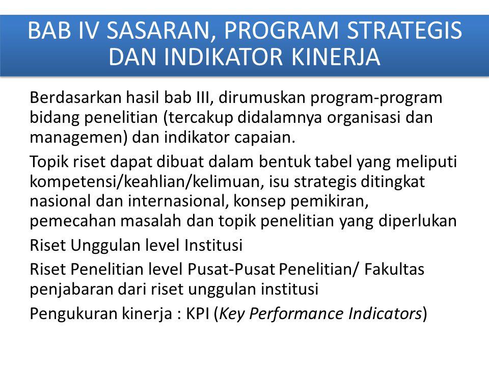 BAB IV SASARAN, PROGRAM STRATEGIS DAN INDIKATOR KINERJA Berdasarkan hasil bab III, dirumuskan program-program bidang penelitian (tercakup didalamnya o