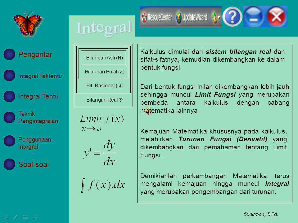 Kalkulus dimulai dari sistem bilangan real dan sifat-sifatnya, kemudian dikembangkan ke dalam bentuk fungsi. Bilangan Asli (N) Bilangan Bulat (Z) Bil.