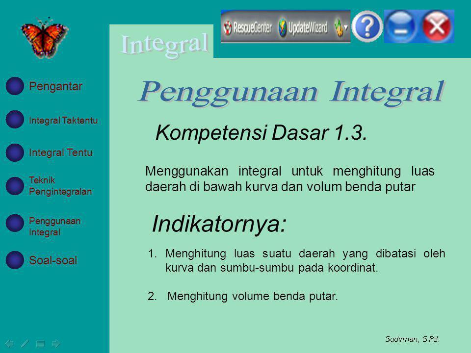 Integral Taktentu Integral Tentu Teknik Pengintegralan Penggunaan Integral Soal-soal Pengantar Menggunakan integral untuk menghitung luas daerah di ba