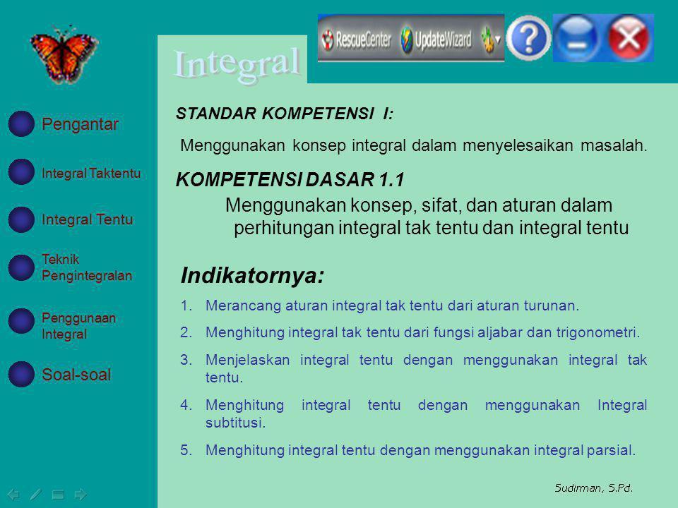 KOMPETENSI DASAR 1.1 Menggunakan konsep, sifat, dan aturan dalam perhitungan integral tak tentu dan integral tentu Indikatornya: 1.Merancang aturan in