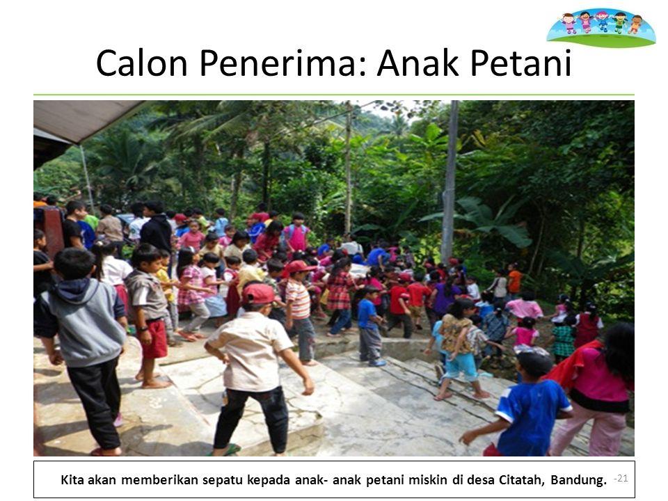 Calon Penerima: Anak Petani Kita akan memberikan sepatu kepada anak- anak petani miskin di desa Citatah, Bandung.