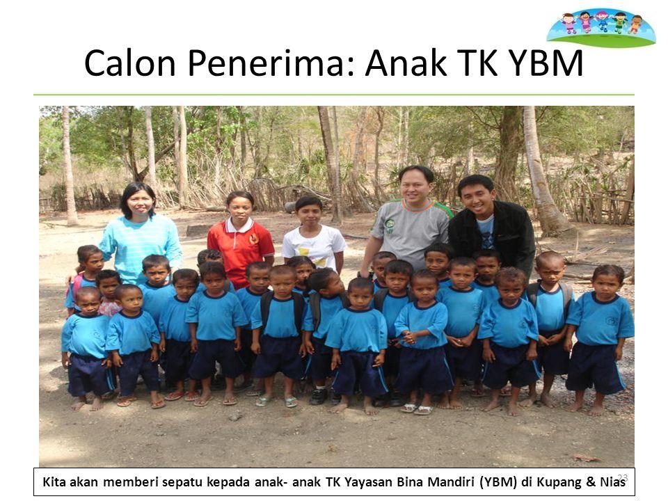 Calon Penerima: Anak TK YBM 23 Kita akan memberi sepatu kepada anak- anak TK Yayasan Bina Mandiri (YBM) di Kupang & Nias