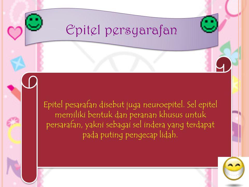 Epitel persyarafan Epitel pesarafan disebut juga neuroepitel. Sel epitel memiliki bentuk dan peranan khusus untuk persarafan, yakni sebagai sel indera