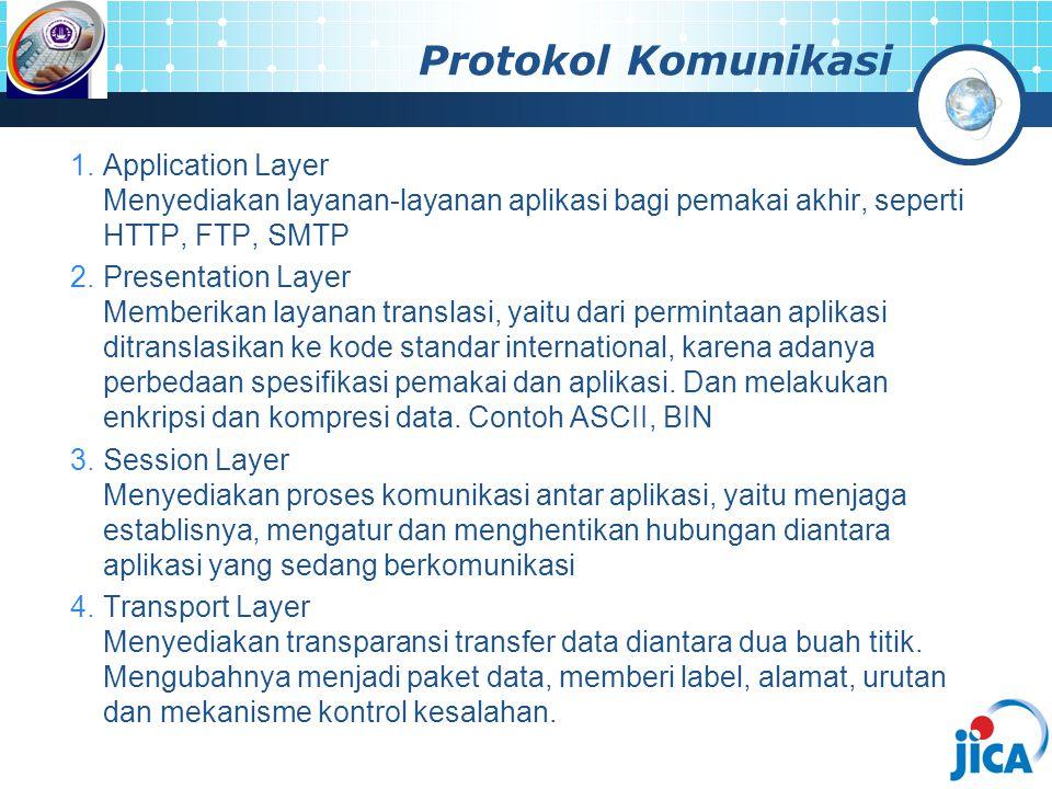 1.Application Layer Menyediakan layanan-layanan aplikasi bagi pemakai akhir, seperti HTTP, FTP, SMTP 2.Presentation Layer Memberikan layanan translasi