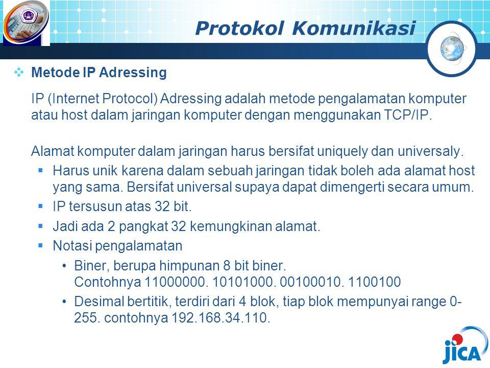 Protokol Komunikasi  Metode IP Adressing IP (Internet Protocol) Adressing adalah metode pengalamatan komputer atau host dalam jaringan komputer denga