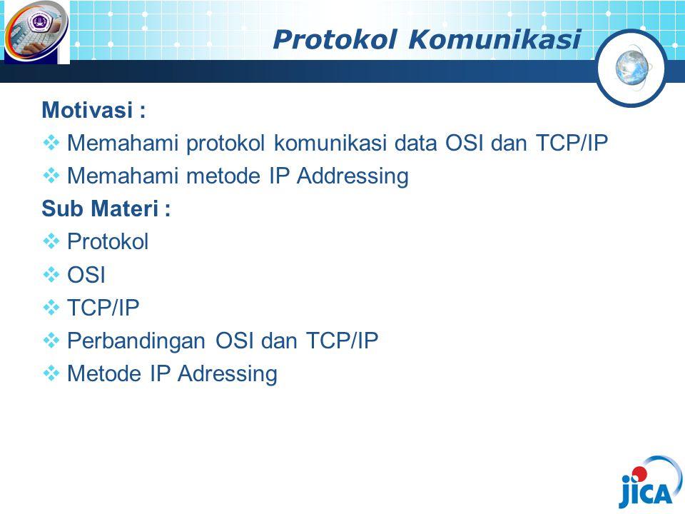 Protokol Komunikasi Motivasi :  Memahami protokol komunikasi data OSI dan TCP/IP  Memahami metode IP Addressing Sub Materi :  Protokol  OSI  TCP/