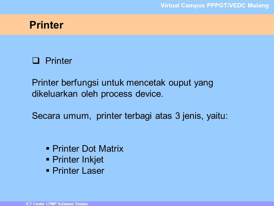 Printer ICT Center LPMP Sulawesi Selatan Virtual Campus PPPGT/VEDC Malang  Printer Printer berfungsi untuk mencetak ouput yang dikeluarkan oleh process device.