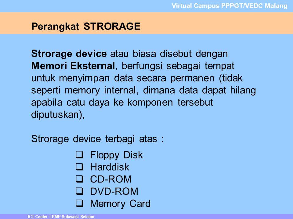 ICT Center LPMP Sulawesi Selatan Virtual Campus PPPGT/VEDC Malang Perangkat STRORAGE Strorage device atau biasa disebut dengan Memori Eksternal, berfungsi sebagai tempat untuk menyimpan data secara permanen (tidak seperti memory internal, dimana data dapat hilang apabila catu daya ke komponen tersebut diputuskan), Strorage device terbagi atas :  Floppy Disk  Harddisk  CD-ROM  DVD-ROM  Memory Card