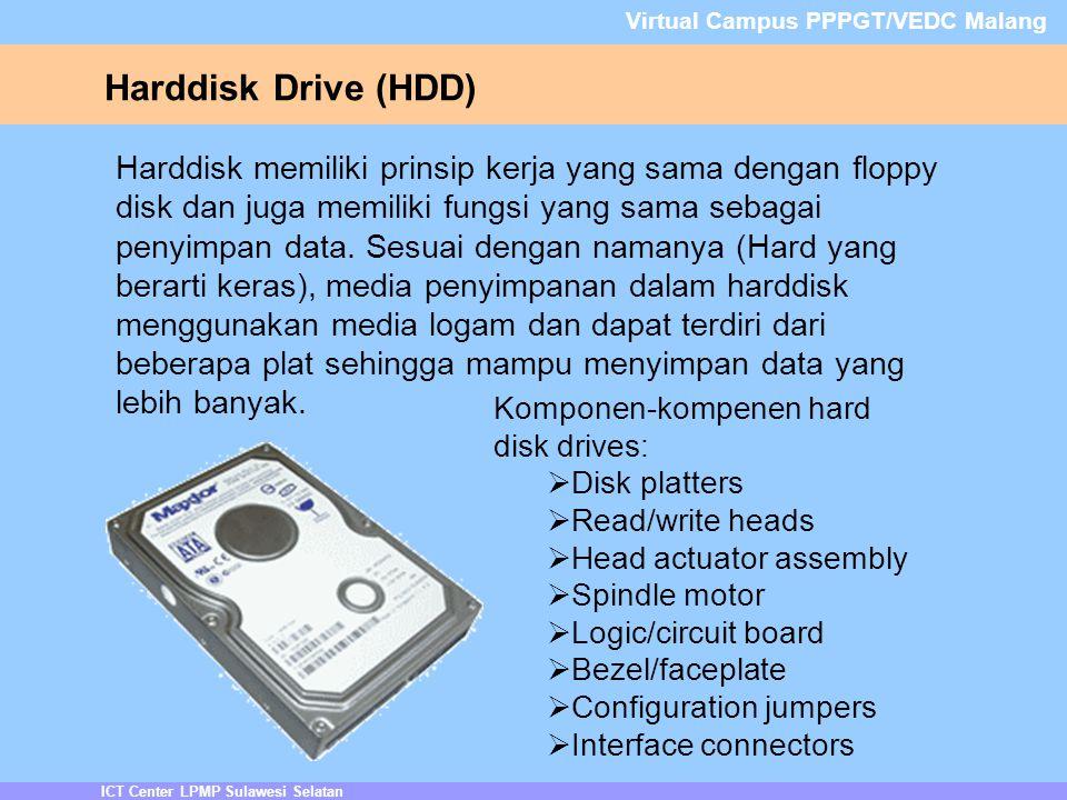 ICT Center LPMP Sulawesi Selatan Virtual Campus PPPGT/VEDC Malang Harddisk Drive (HDD) Harddisk memiliki prinsip kerja yang sama dengan floppy disk dan juga memiliki fungsi yang sama sebagai penyimpan data.