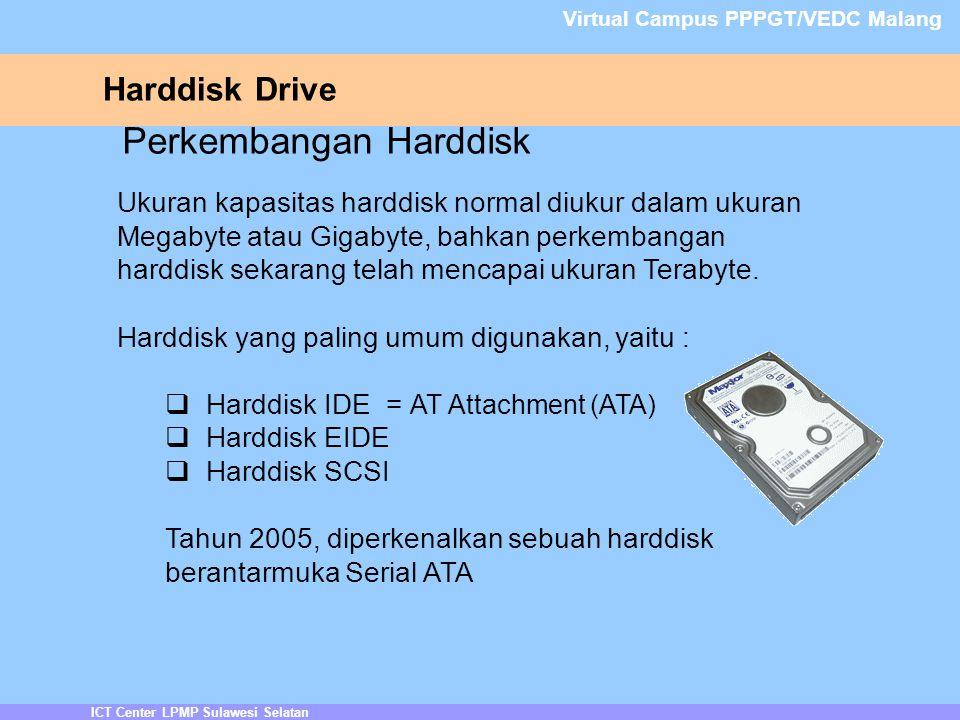 ICT Center LPMP Sulawesi Selatan Virtual Campus PPPGT/VEDC Malang Perkembangan Harddisk Ukuran kapasitas harddisk normal diukur dalam ukuran Megabyte atau Gigabyte, bahkan perkembangan harddisk sekarang telah mencapai ukuran Terabyte.