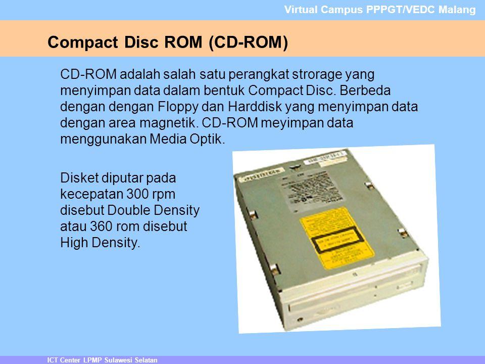ICT Center LPMP Sulawesi Selatan Virtual Campus PPPGT/VEDC Malang Compact Disc ROM (CD-ROM) CD-ROM adalah salah satu perangkat strorage yang menyimpan data dalam bentuk Compact Disc.