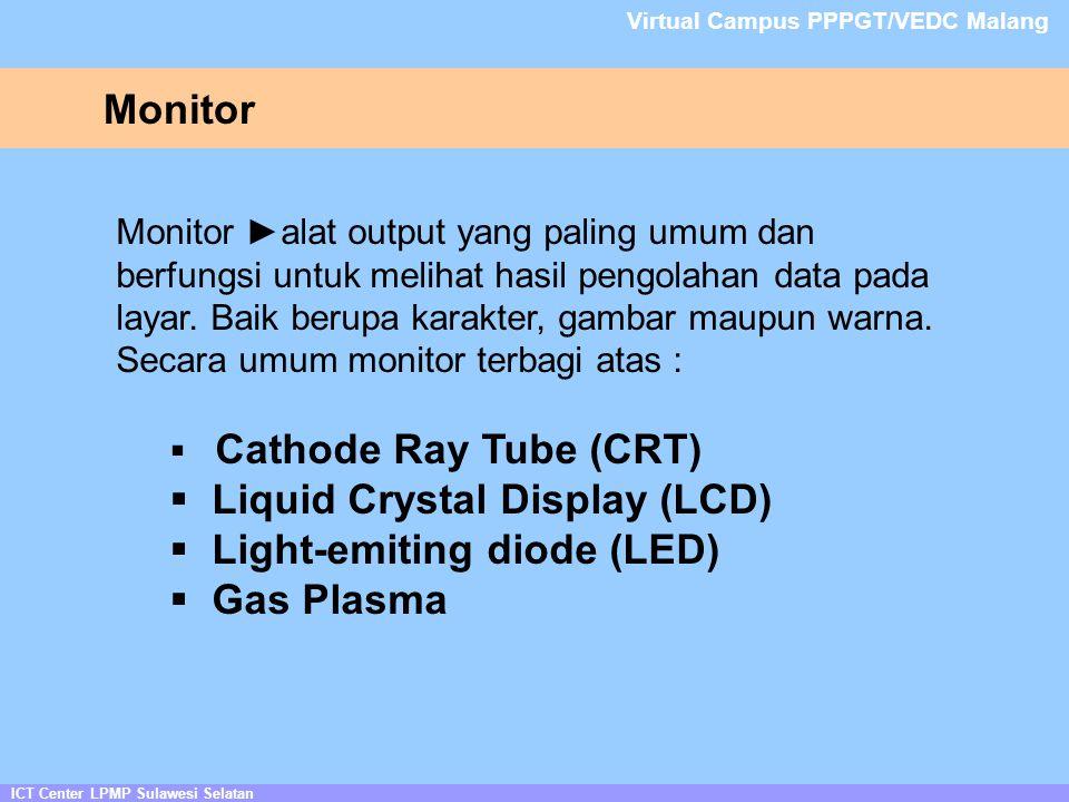 Monitor ICT Center LPMP Sulawesi Selatan Virtual Campus PPPGT/VEDC Malang Monitor ►alat output yang paling umum dan berfungsi untuk melihat hasil pengolahan data pada layar.
