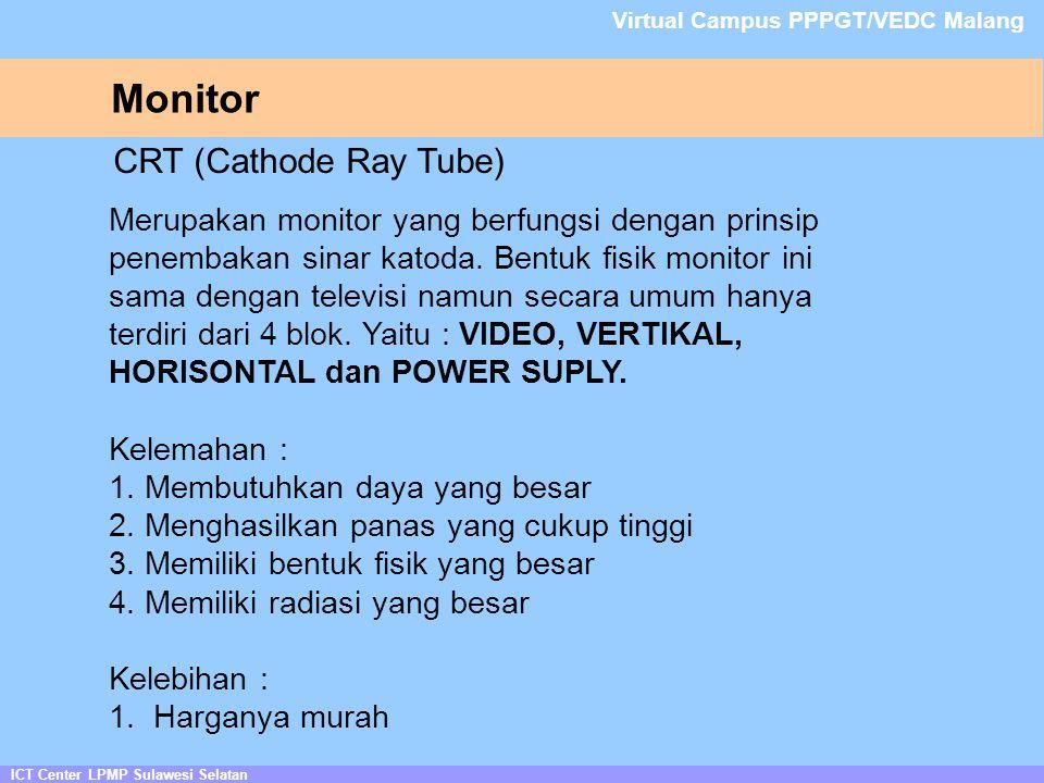Monitor ICT Center LPMP Sulawesi Selatan Virtual Campus PPPGT/VEDC Malang CRT (Cathode Ray Tube) Merupakan monitor yang berfungsi dengan prinsip penembakan sinar katoda.