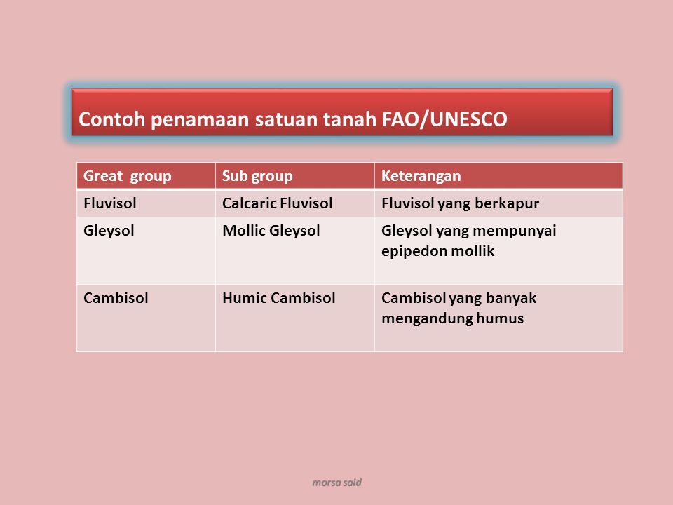 Great groupSub groupKeterangan FluvisolCalcaric FluvisolFluvisol yang berkapur GleysolMollic GleysolGleysol yang mempunyai epipedon mollik CambisolHum