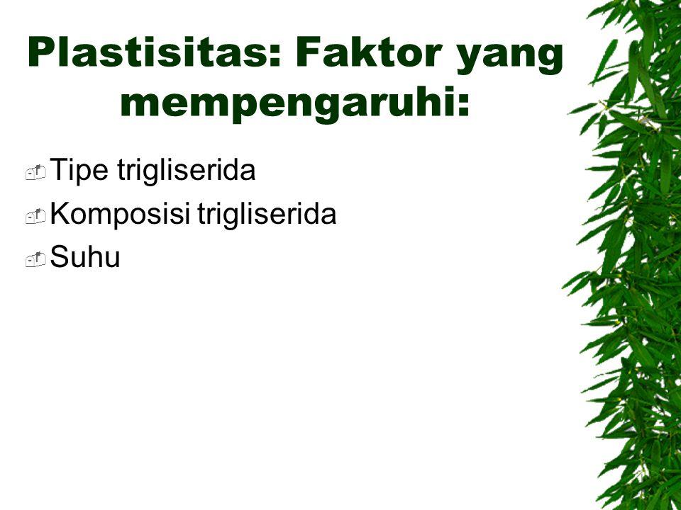 Plastisitas: Faktor yang mempengaruhi:  Tipe trigliserida  Komposisi trigliserida  Suhu