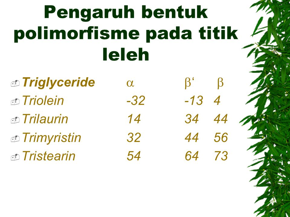 Pengaruh bentuk polimorfisme pada titik leleh  Triglyceride  '   Triolein -32 -13 4  Trilaurin 14 34 44  Trimyristin 32 44 56  Tristearin 54