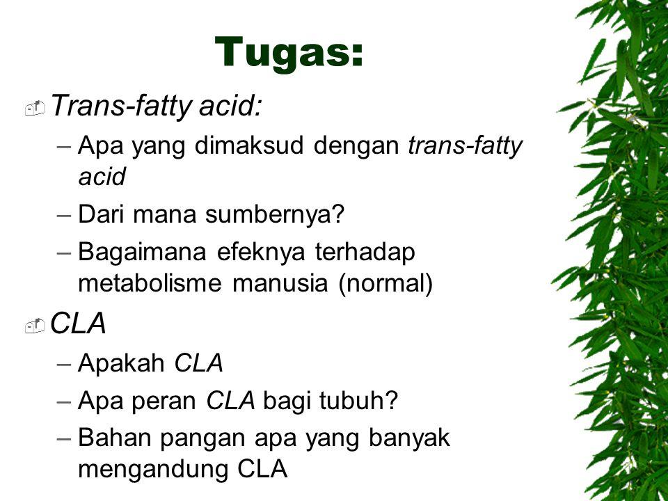 Tugas:  Trans-fatty acid: –Apa yang dimaksud dengan trans-fatty acid –Dari mana sumbernya? –Bagaimana efeknya terhadap metabolisme manusia (normal) 