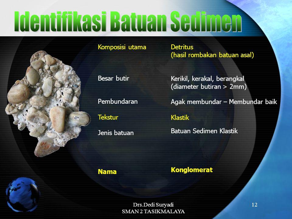 Drs.Dedi Suryadi SMAN 2 TASIKMALAYA 12 Komposisi utama Besar butir Pembundaran Tekstur Jenis batuan Nama Konglomerat Agak membundar – Membundar baik B