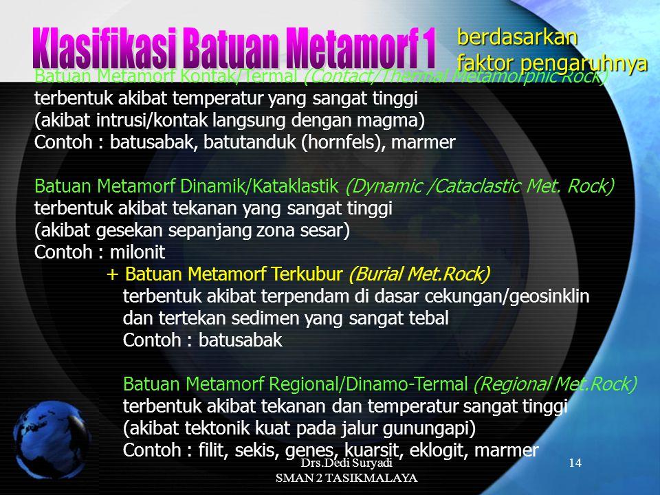 Drs.Dedi Suryadi SMAN 2 TASIKMALAYA 14 Batuan Metamorf Kontak/Termal (Contact/Thermal Metamorphic Rock) terbentuk akibat temperatur yang sangat tinggi