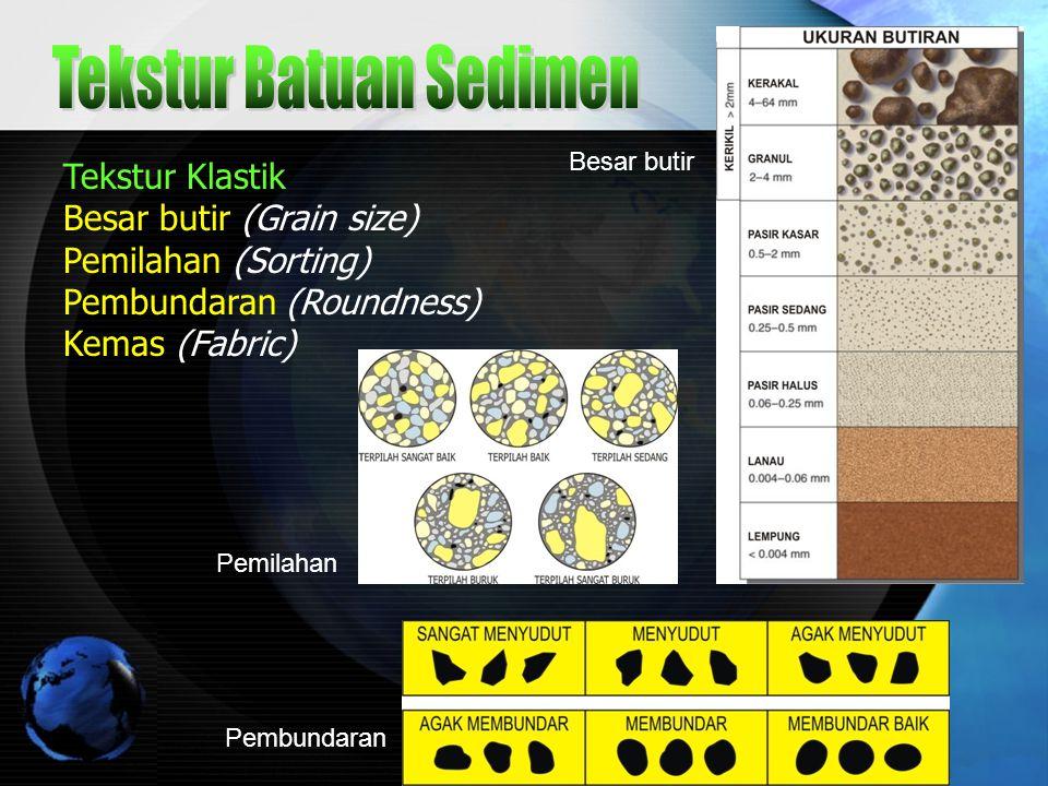 Drs.Dedi Suryadi SMAN 2 TASIKMALAYA 6 Tekstur Klastik Besar butir (Grain size) Pemilahan (Sorting) Pembundaran (Roundness) Kemas (Fabric) Besar butir