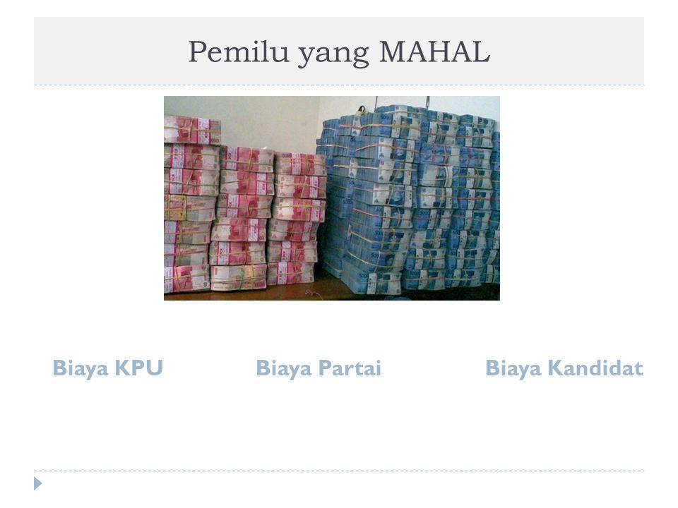 Biaya KPU (Membebani APBN dan APBD)  Biaya untuk KPU:  KPU Nasional  KPU seluruh Provinsi  KPU seluruh Kabupaten dan Kota  Sumber KPU:  Biaya Pemilukada 2010 s/d 2014 ( 15 Trilyun )  Biaya Pemilu 2009: 49,7 Trilyun