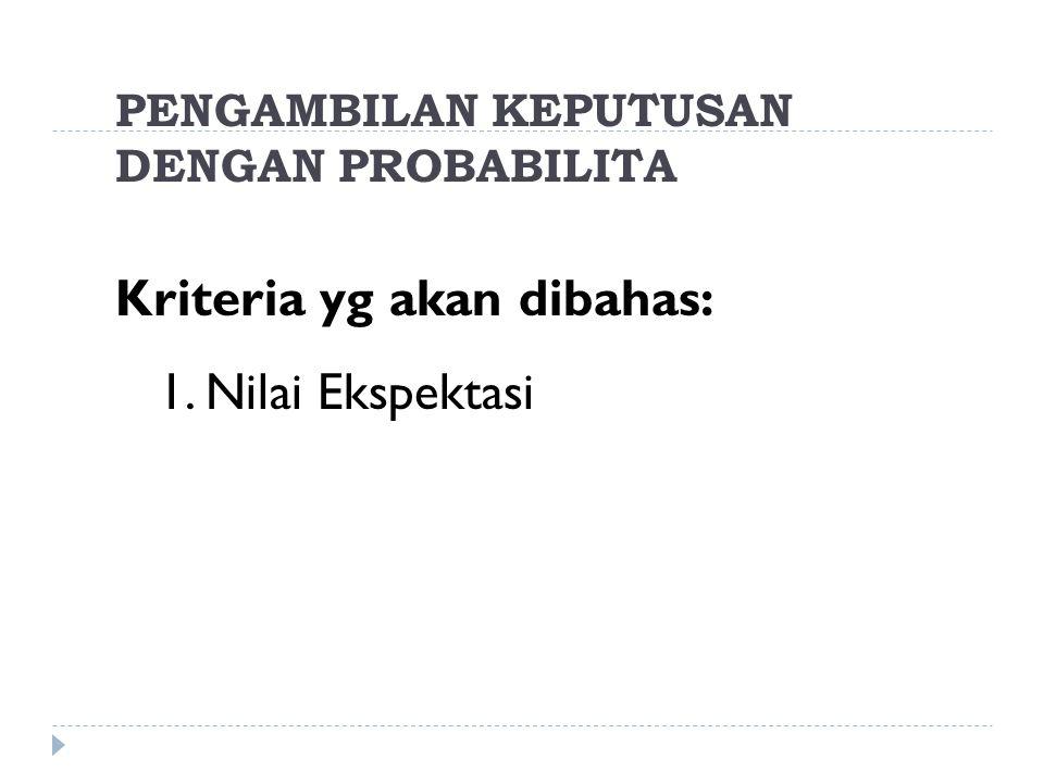 PENGAMBILAN KEPUTUSAN DENGAN PROBABILITA Kriteria yg akan dibahas: 1. Nilai Ekspektasi