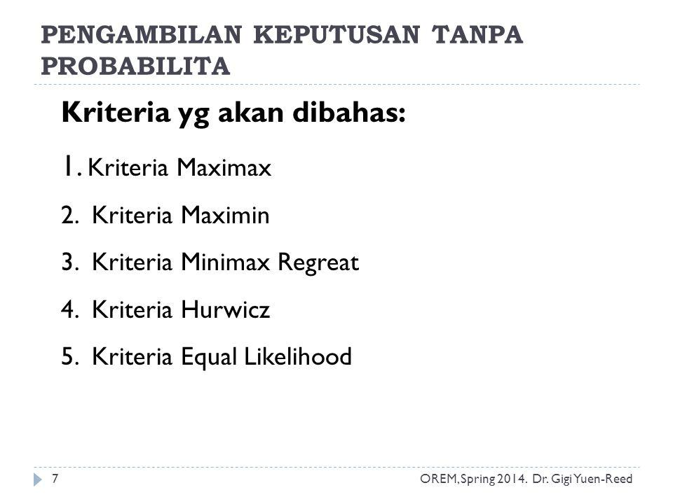 OREM, Spring 2014. Dr. Gigi Yuen-Reed 7 Kriteria yg akan dibahas: 1. Kriteria Maximax 2. Kriteria Maximin 3. Kriteria Minimax Regreat 4. Kriteria Hurw