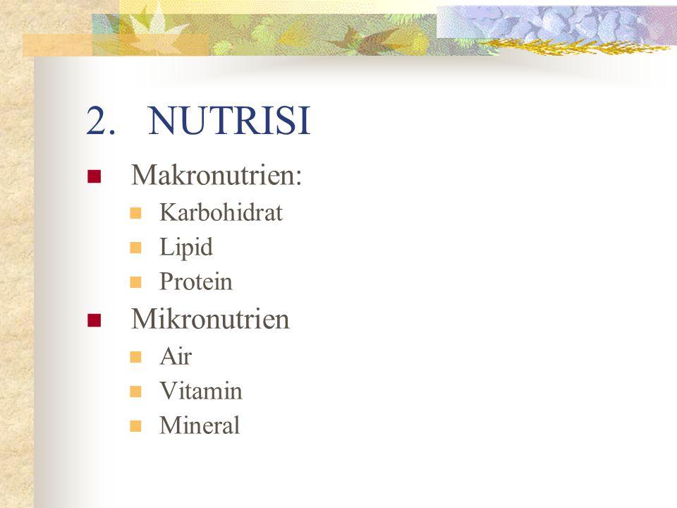 2.NUTRISI Makronutrien: Karbohidrat Lipid Protein Mikronutrien Air Vitamin Mineral