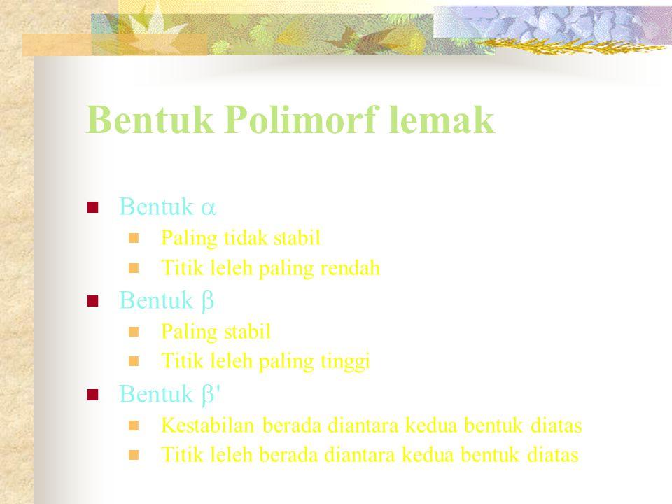 Bentuk Polimorf lemak Bentuk  Paling tidak stabil Titik leleh paling rendah Bentuk  Paling stabil Titik leleh paling tinggi Bentuk  ' Kestabilan be