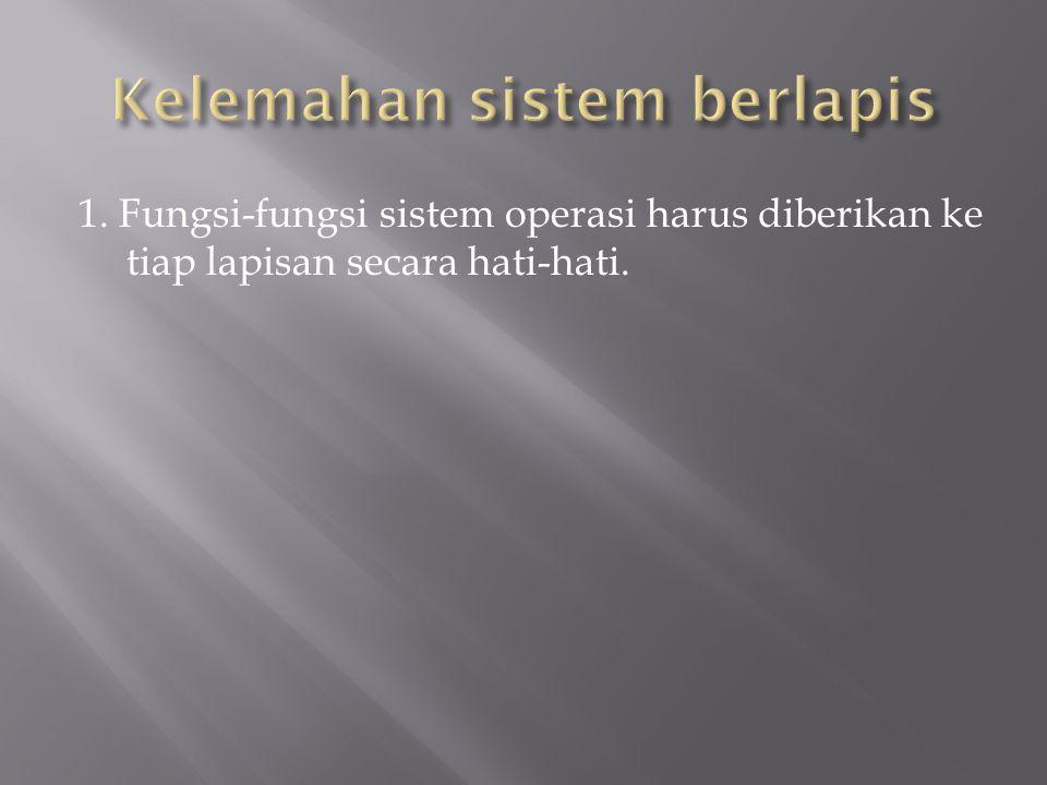 1. Fungsi-fungsi sistem operasi harus diberikan ke tiap lapisan secara hati-hati.
