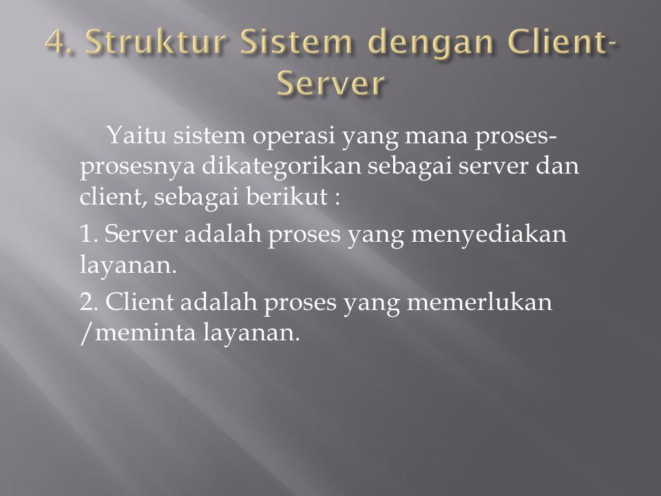 Yaitu sistem operasi yang mana proses- prosesnya dikategorikan sebagai server dan client, sebagai berikut : 1. Server adalah proses yang menyediakan l
