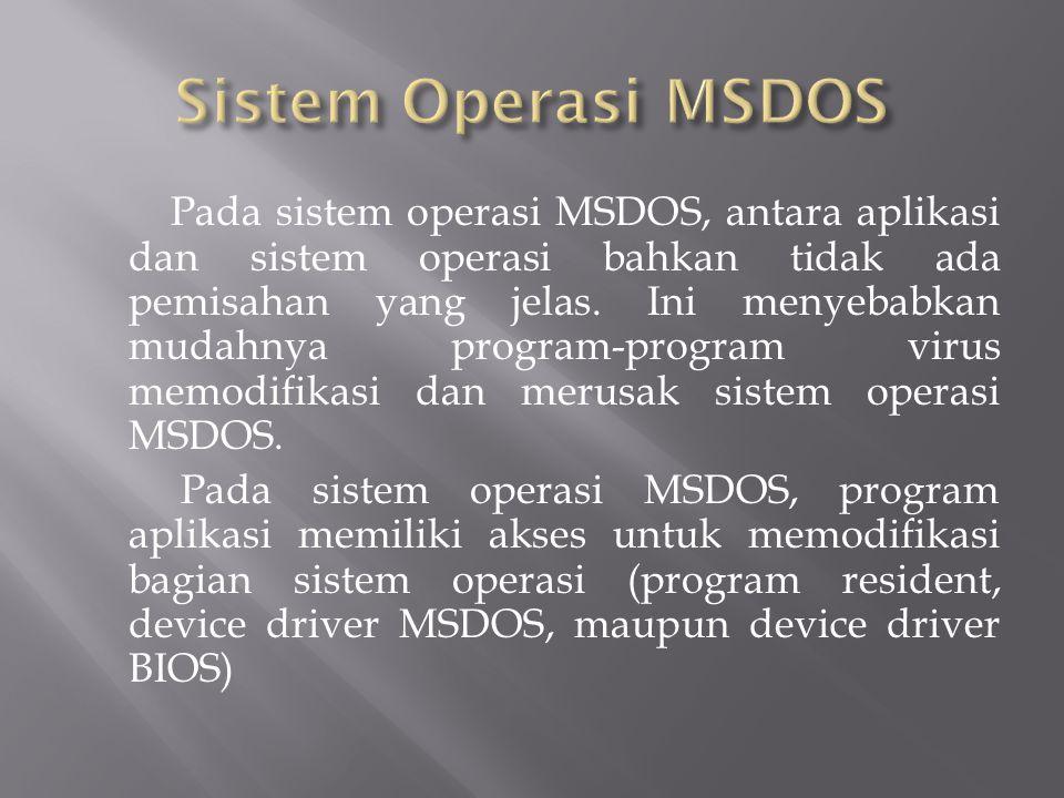 Pada sistem operasi MSDOS, antara aplikasi dan sistem operasi bahkan tidak ada pemisahan yang jelas. Ini menyebabkan mudahnya program-program virus me