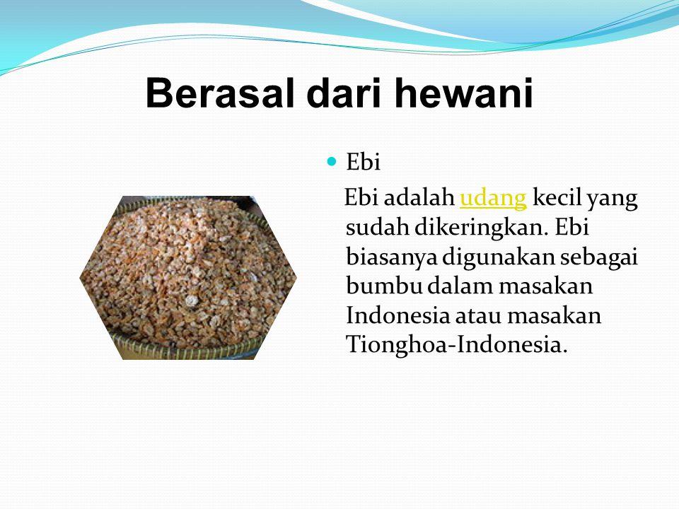 Berasal dari hewani Ebi Ebi adalah udang kecil yang sudah dikeringkan. Ebi biasanya digunakan sebagai bumbu dalam masakan Indonesia atau masakan Tiong