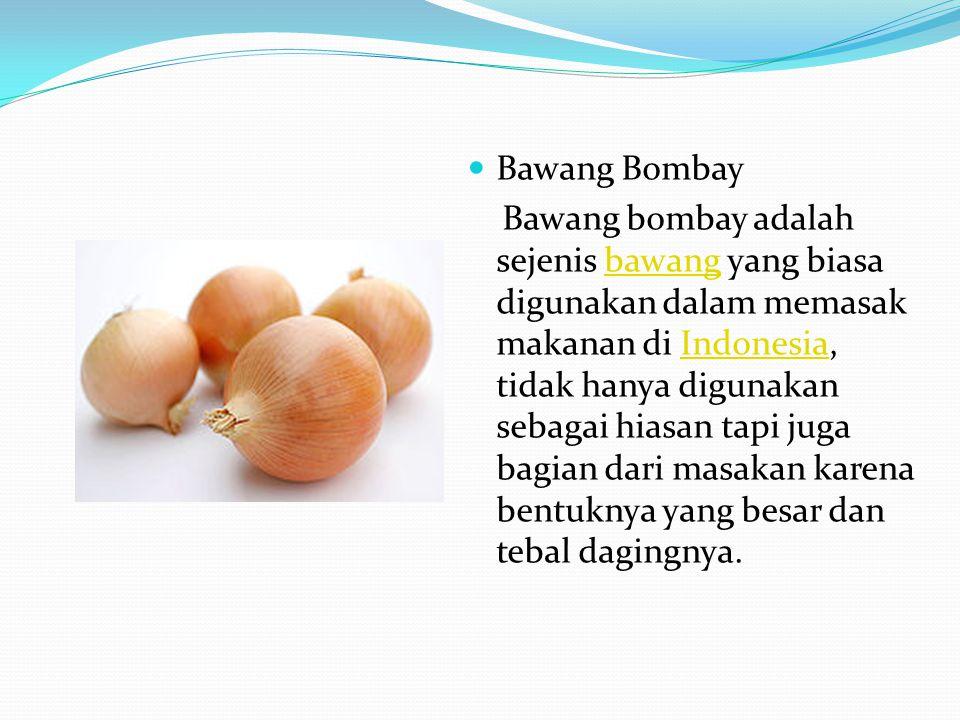 Bawang Bombay Bawang bombay adalah sejenis bawang yang biasa digunakan dalam memasak makanan di Indonesia, tidak hanya digunakan sebagai hiasan tapi j