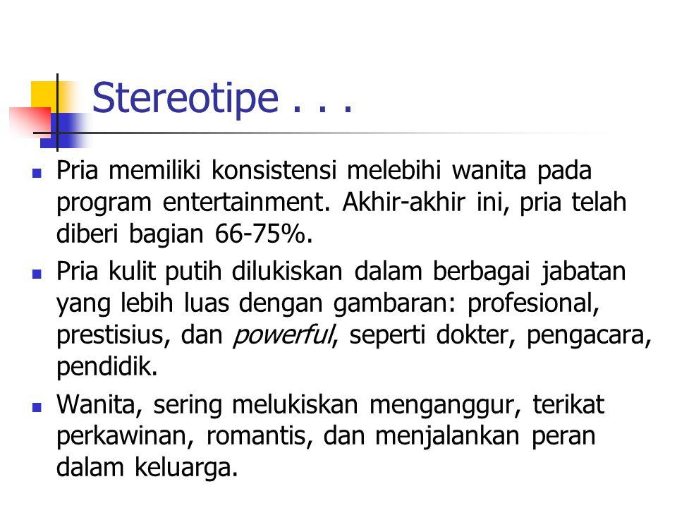 Stereotipe... Pria memiliki konsistensi melebihi wanita pada program entertainment.