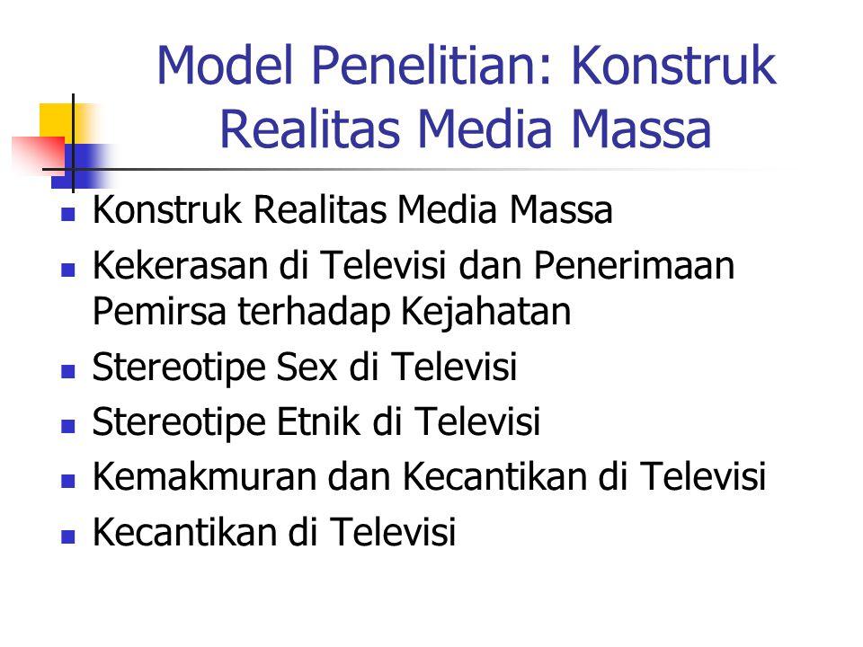 Model Penelitian: Konstruk Realitas Media Massa Konstruk Realitas Media Massa Kekerasan di Televisi dan Penerimaan Pemirsa terhadap Kejahatan Stereotipe Sex di Televisi Stereotipe Etnik di Televisi Kemakmuran dan Kecantikan di Televisi Kecantikan di Televisi