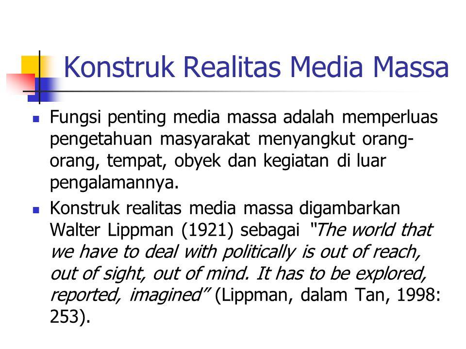 Konstruk Realitas Media Massa Fungsi penting media massa adalah memperluas pengetahuan masyarakat menyangkut orang- orang, tempat, obyek dan kegiatan di luar pengalamannya.