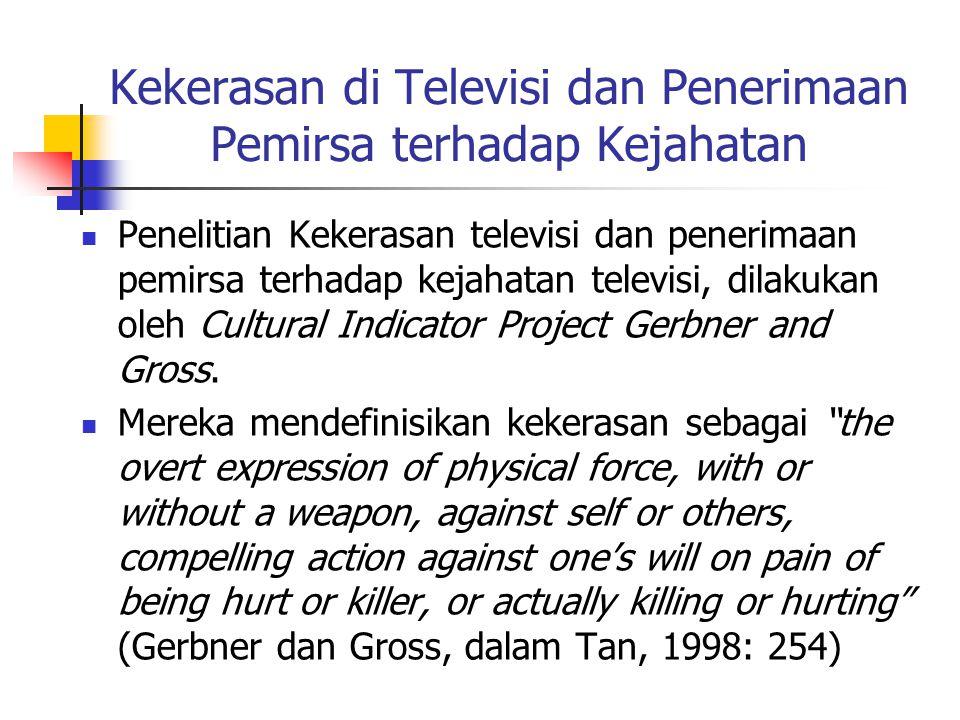 Kekerasan di Televisi dan Penerimaan Pemirsa terhadap Kejahatan Penelitian Kekerasan televisi dan penerimaan pemirsa terhadap kejahatan televisi, dilakukan oleh Cultural Indicator Project Gerbner and Gross.