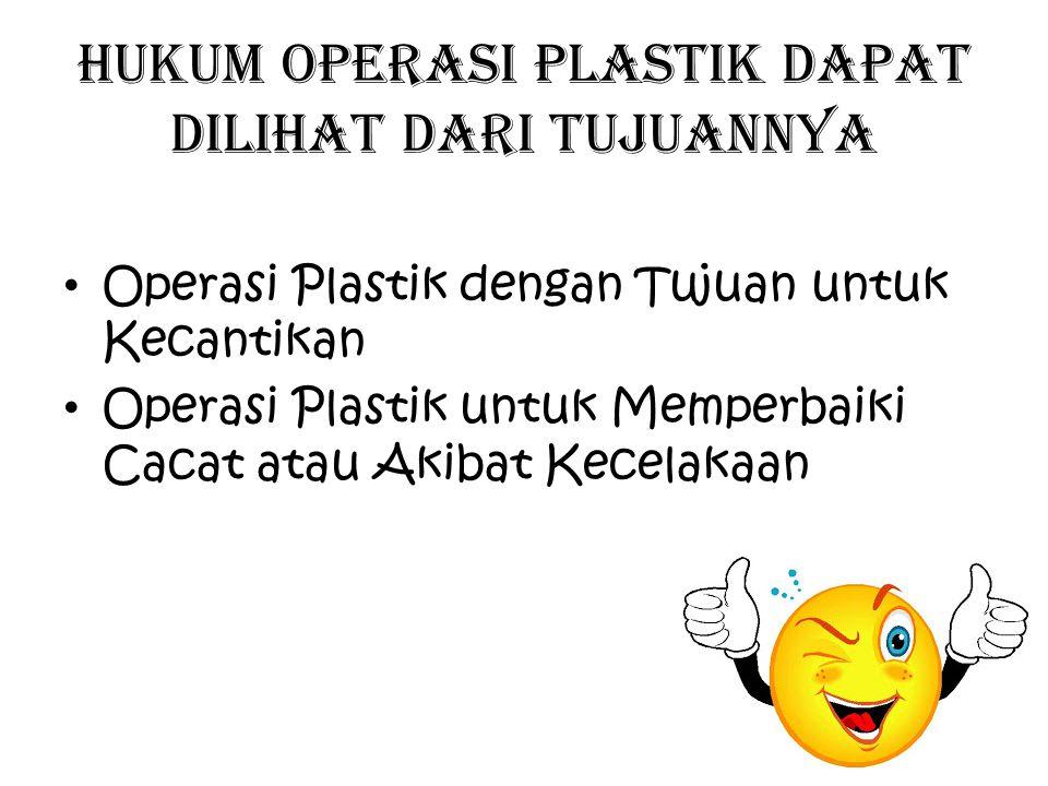 Hukum operasi plastik dapat dilihat dari tujuannya Operasi Plastik dengan Tujuan untuk Kecantikan Operasi Plastik untuk Memperbaiki Cacat atau Akibat